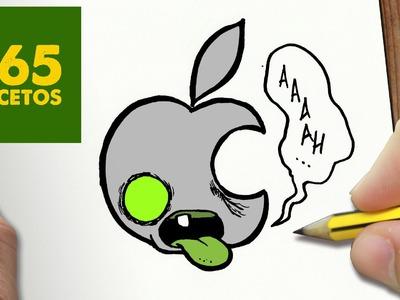 COMO DIBUJAR LOGO APPLE ZOMBIE KAWAII PASO A PASO - Dibujos kawaii faciles - draw apple zombie