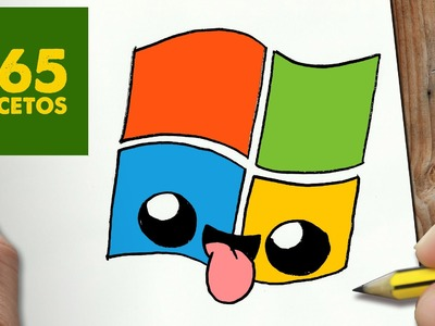 COMO DIBUJAR LOGO WINDOWS KAWAII PASO A PASO - Dibujos kawaii faciles - How to draw a LOGO WINDOWS