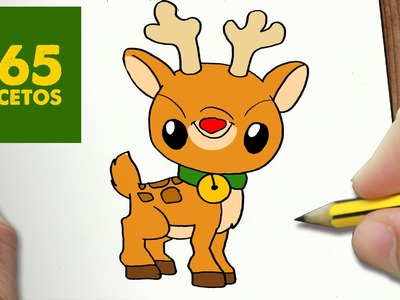 COMO DIBUJAR RUDOLF KAWAII PASO A PASO - Dibujos kawaii faciles - How to draw a Rudolf