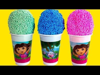 Dora the explorer Foam clay Surprise Eggs Ice Cream cups Disney Princess Angry birds Spongebob