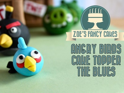 Fondant Angry birds: Blue Angry birds cake topper how to make