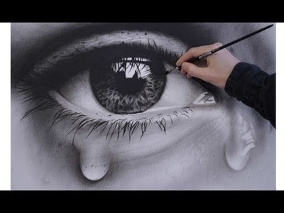 How to Draw a Realistic Eye - speed painting photorealistic dry brush