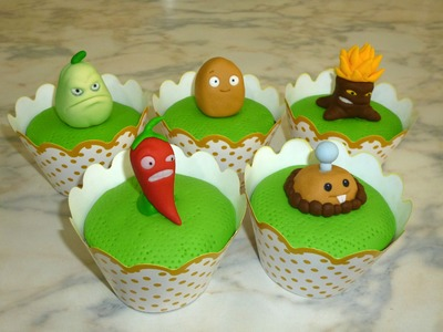 How to make Plants vs Zombies cupcakes (part 2.3). Cupcakes de Plantas Vs Zombies parte 2