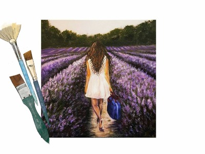How to Paint A Girl in a Lavender Field - PAINT ALONG - Real Time