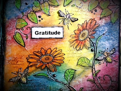 Mixed Media Mini Art Journal Series Page #16 - Gratitude