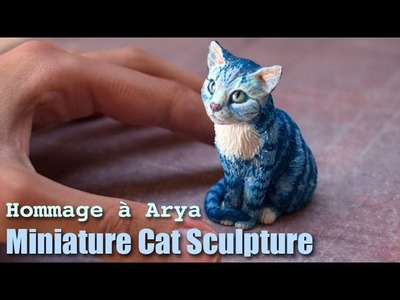 Polymer Clay Cat Sculpture. Hommage à Arya