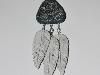 Rear View Mirror Charm - Lava Rock and Feathers