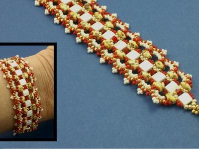 "#Beading4perfectionists : Tila ""Lace-Brace"" Bracelet advanced beading tutorial"