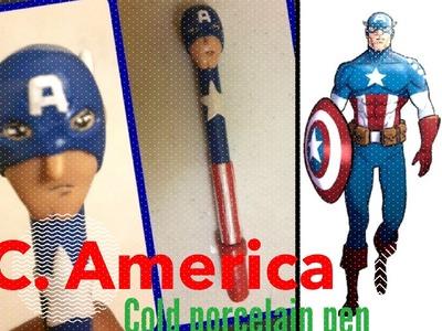 Cold Porcelain Pen: Captain America!. Lapicero de Porcelana Fría: Capitan América! - Tutorial-
