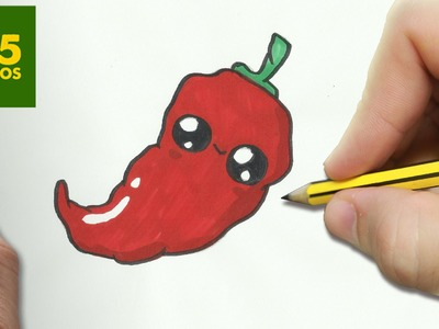 COMO DIBUJAR CHILI KAWAII PASO A PASO - Dibujos kawaii faciles - How to draw a CHILI PEPPER