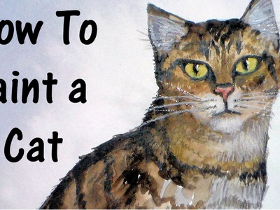 How to paint a cat in watercolor and colored pencil