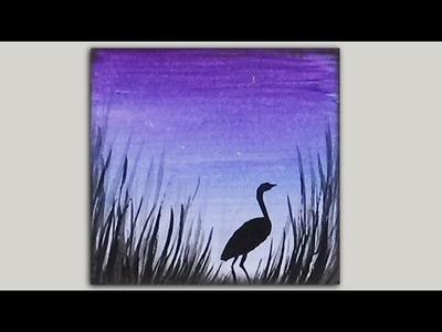 Mini Acrylic Painting - Crane Silhouette
