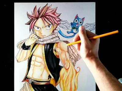 Natsu & Happy (Fairy Tail) | Speed Drawing | Artemaster | Prismacolor Pencils