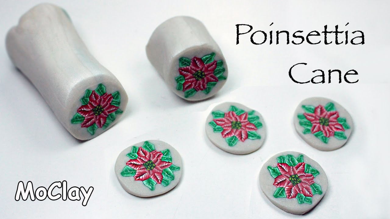 Diy poinsettia millefiori cane. Polymer clay tutorial.