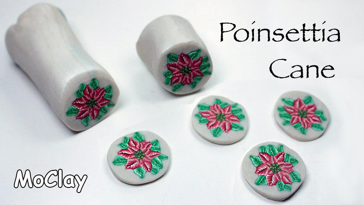 Diy poinsettia millefiori cane. Polymer clay tutorial.