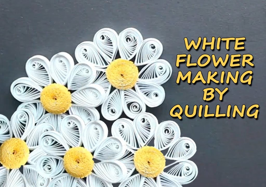 White Flower Making Diy with Paper - Quilling Designs Art