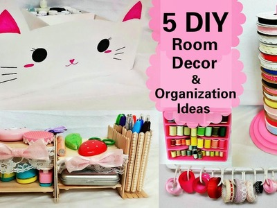 5 DIY Room Decors and Organization Ideas:DIY Animal storage box, Desk Organizer, Ribbon Stand, etc