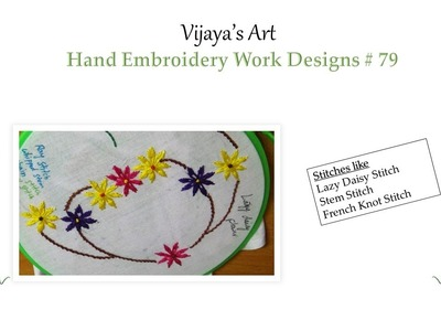 Beautiful Hand Embroidery Work Designs # 79 - Lazy Daisy Stitch Flower Designs