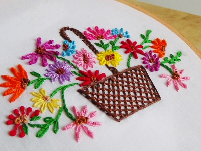Hand Embroidery: Flowers (Basket)