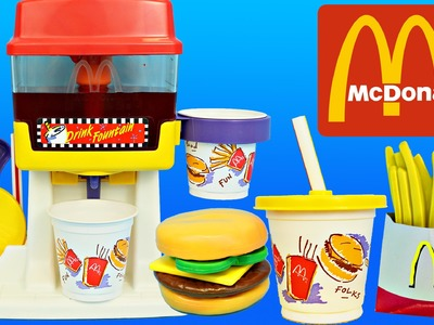 McDonalds Happy Meal Magic DRINK FOUNTAIN Playset & Frozen Anna, Spiderman & Barbie McDonalds Toys