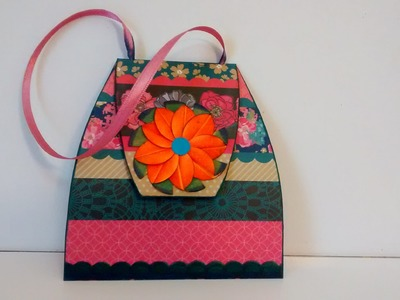 Art and Craft: Exploding hand bag card. Exploding purse card. Mother's day exploding purse card