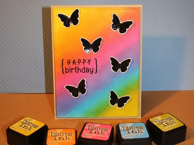 Birthday card with blended distress ink background