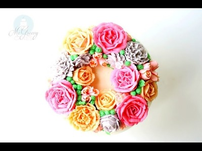 How to Make a Buttercream Flower Wreath Cake!