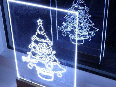 How to make acrylic led Christmas tree edge light sign. decoration