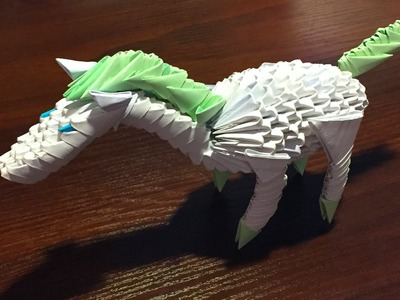 3D origami a horse (a hoss) of pieces tutorial