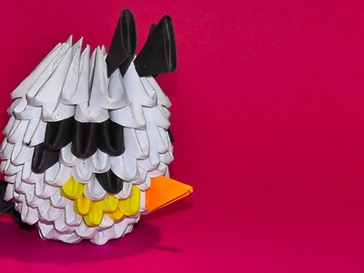 3D origami a white angry bird of pieces tutorial