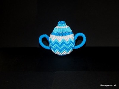 3d origami coffee set tutorial part 5( 3d origami sugar container 2)