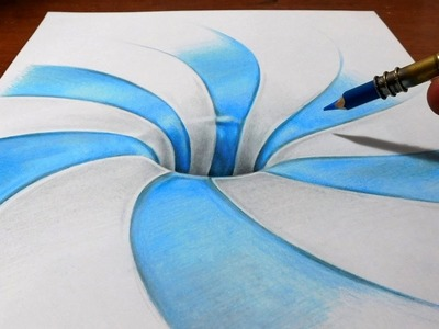 Drawing a Spiral Pattern Hole - Anamorphic Illusion