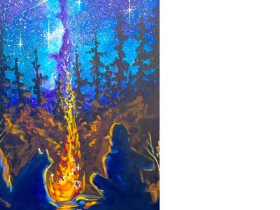 EASY Campfire & Galaxy Tutorial Acrylic Painting The Art sherpa