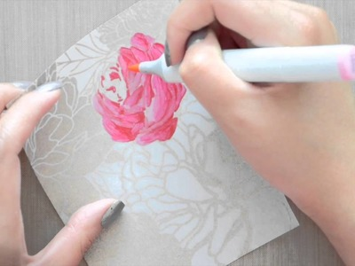 Gold Embossed Vellum & Copic Coloring with Peony Garden Cling Background Stamp
