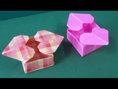 Origami double heart box - origami paper tutorial