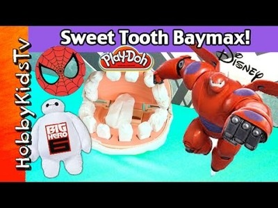 BAYMAX Drill n' Fill TEETH! Surprise Toys Super Hero 6 Lab Experiment HobbyKidsTV
