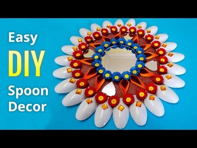 DIY Home Decoration Ideas : How to Make a Wall Decor From Plastic Spoons | Recycled Crafts