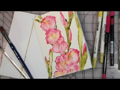 Fast gladiolus painting using watercolor markers