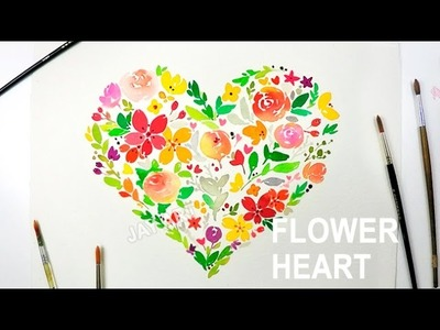 Heart Shaped ♥ Flower Painting with Watercolors - Level 4
