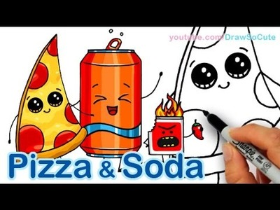 How to Draw Cute Pizza Slice & Soda Can Cute and Easy