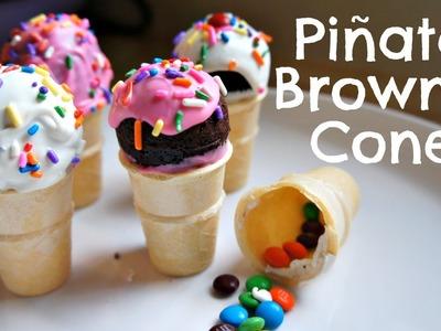 How to Make Mini Piñata Brownie Cones