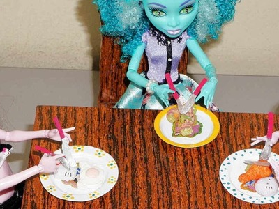 How to make plates and silverware. cutlery for doll (Monster High, Barbie, etc)