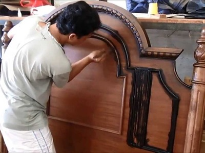 Indonesia furniture manufacturer coloring classic carving bed