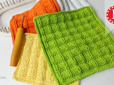 LOOM KNITTING Waffle Stitch Washcloth. Dishcloth Project Pattern