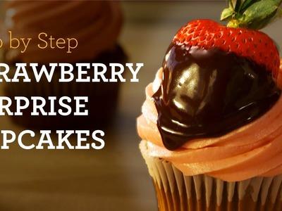 MyCupcakeAddiction's Strawberry Surprise Chocolate Chip Cupcakes