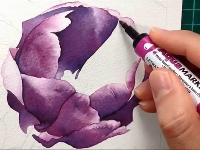 Painting a Purple Tulip with watercolour markers - Aquamarker tutorial