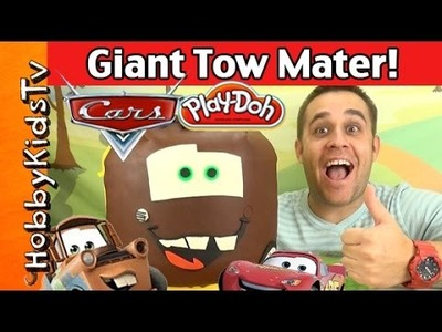 Play-Doh Lego Head Giant MATER Makeover! Surprise Disney Toys Cars Movie By HobbyKidsTV