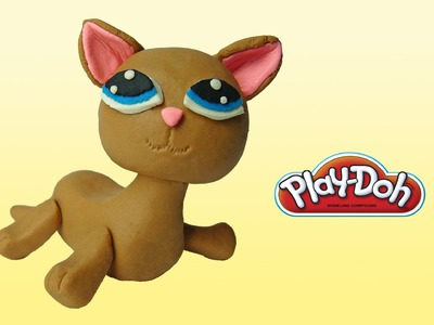 Play doh Littlest Pet Shop Shorthair Cat - how to make with playdoh