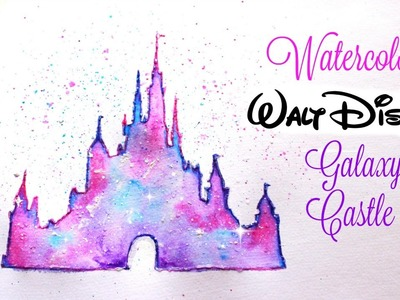 Simple Walt Disney Castle Galaxy Watercolor Tutorial