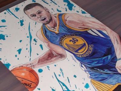 Stephen Curry Ballpoint Pen Drawing - Warriors - DeMoose Art